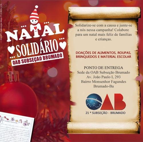 Brumado: participe da campanha 'Natal Solidário' da OAB