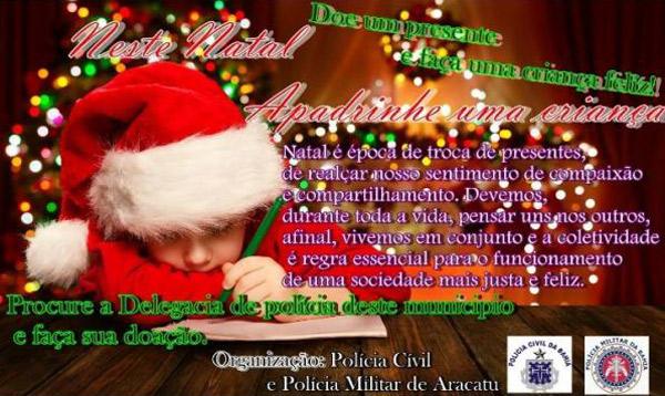 Polícias Civil e Militar de Aracatu se unem na promoção de campanha Natal