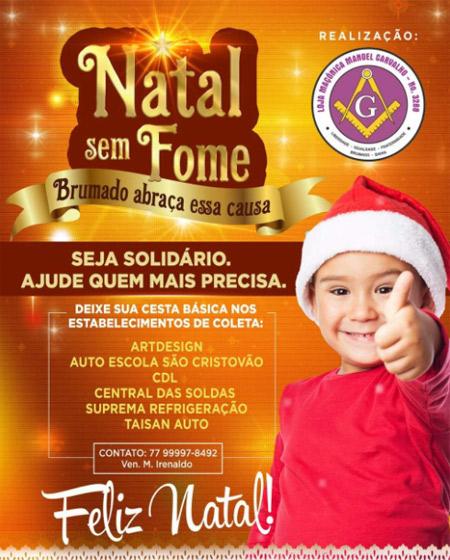 Brumado: participe da campanha Natal sem fome da Loja Macônica Manoel Carvalho