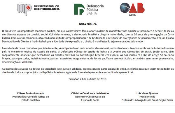 Ministério Público, Defensoria e OAB na Bahia emitem nota conjunta sobre liberdade de expressão
