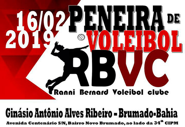 Peneira de Vôlei do RBVC/Sel. de Brumado acontece no próximo sábado (16) no Ginásio Antônio Alves Ribeiro