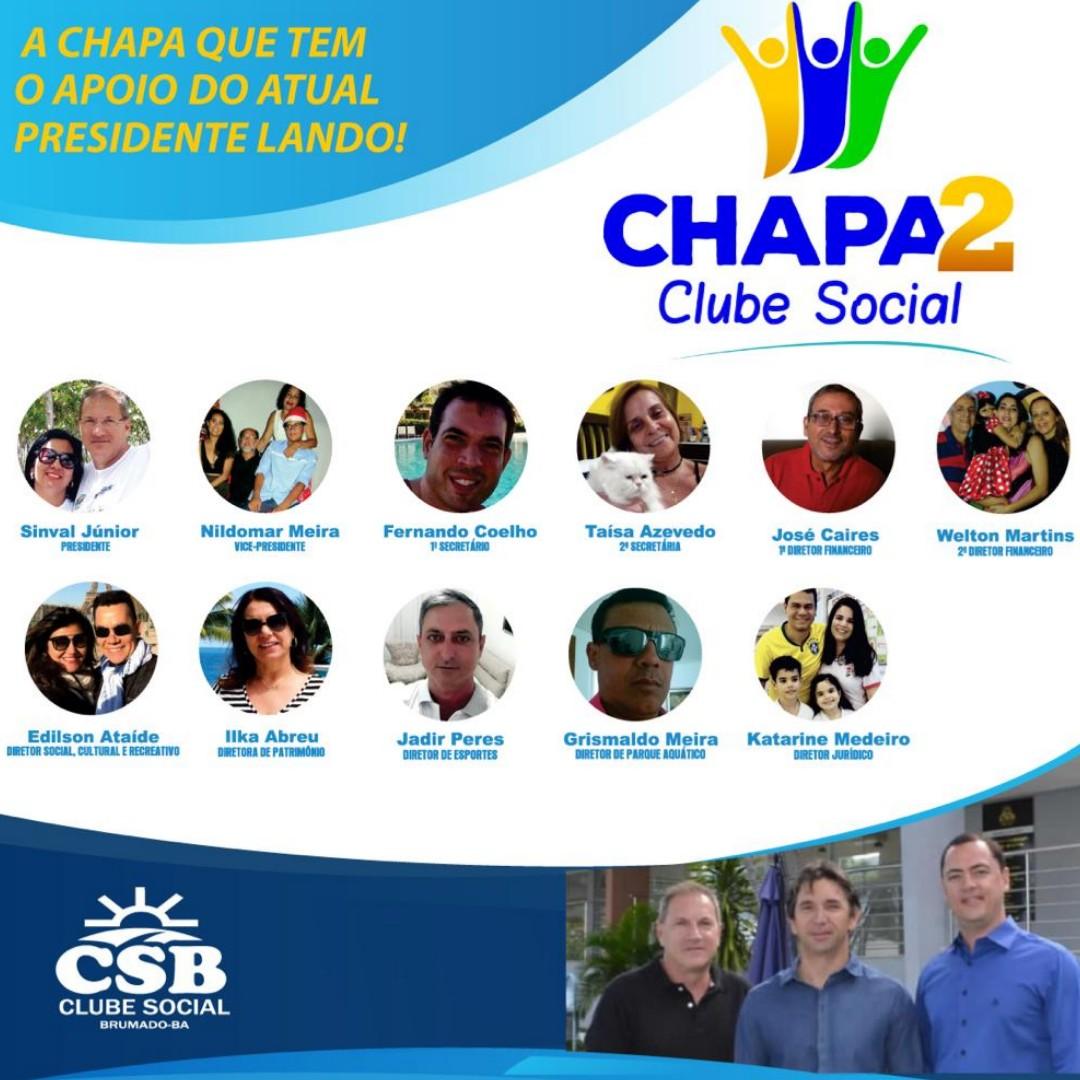 Chapa 2 concorre a diretoria administrativa do Clube Social e Recreativo de Brumado