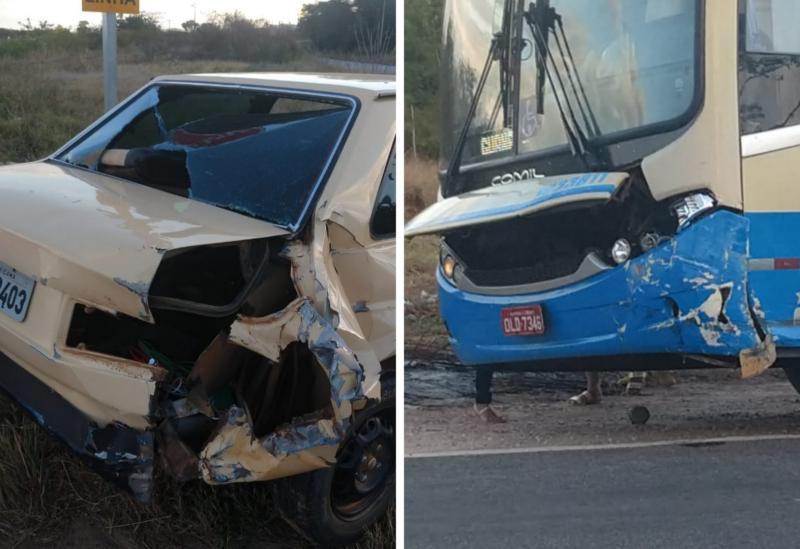 Brumado: ônibus da Novo Horizonte se envolveu em acidente com carro na BR-030, próximo à Vila Presidente Vargas