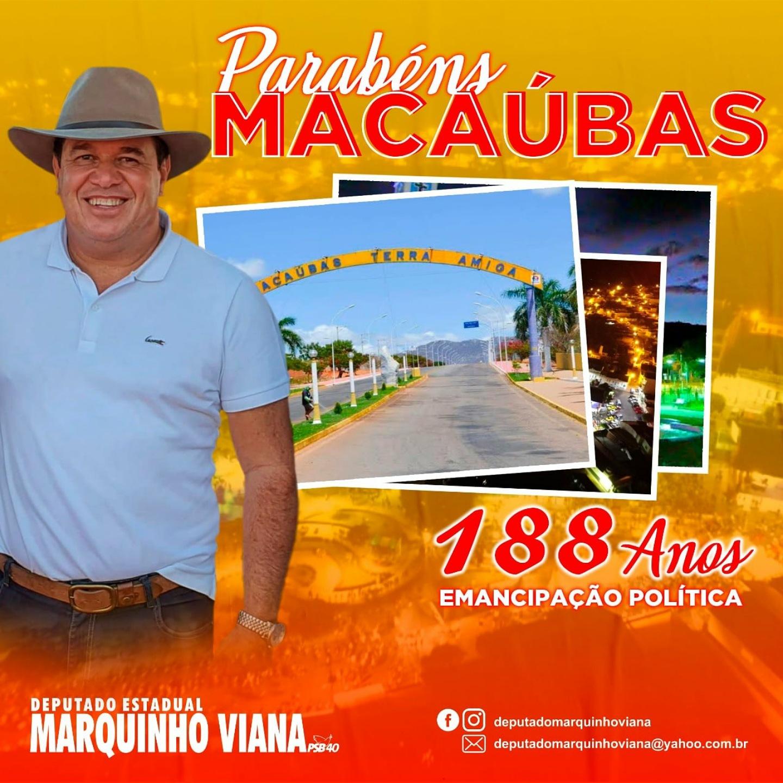 Deputado parabeniza Macaúbas pelos seus 188 anos de Emancipação Política