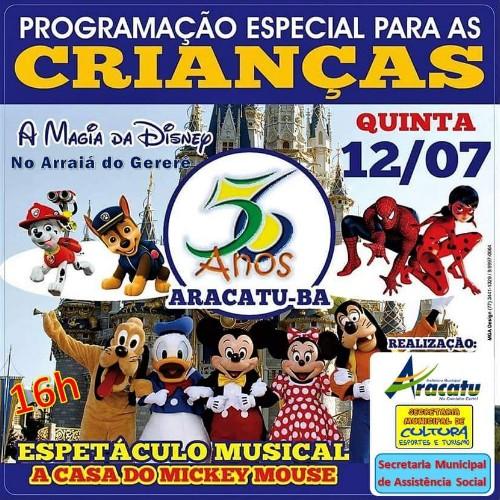 Comemoração do aniversário de 56 anos de Aracatu contará com diversão para a criançada