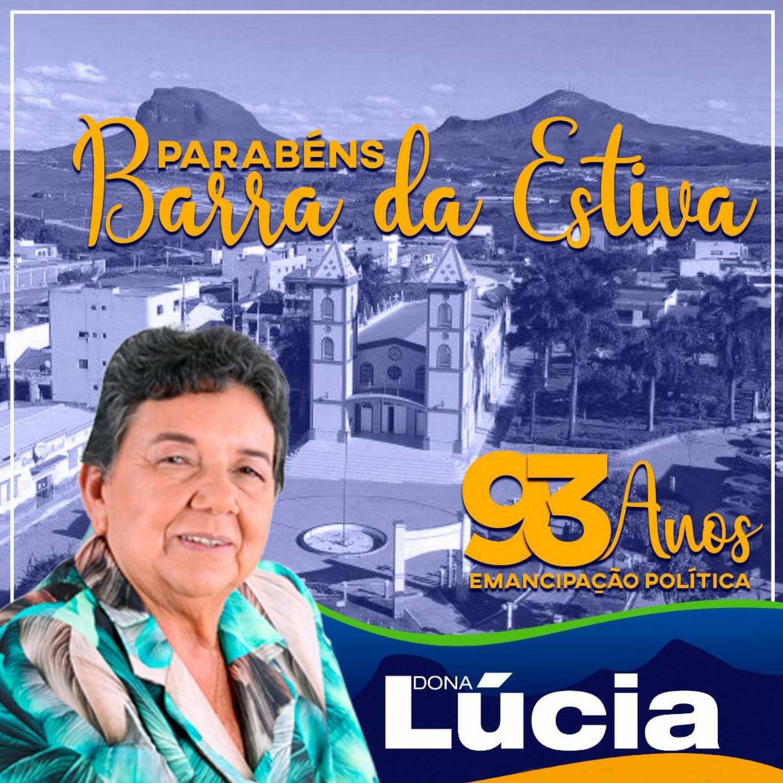 Dona Lúcia parabeniza Barra da Estiva pelos seus 93 anos de emancipação política