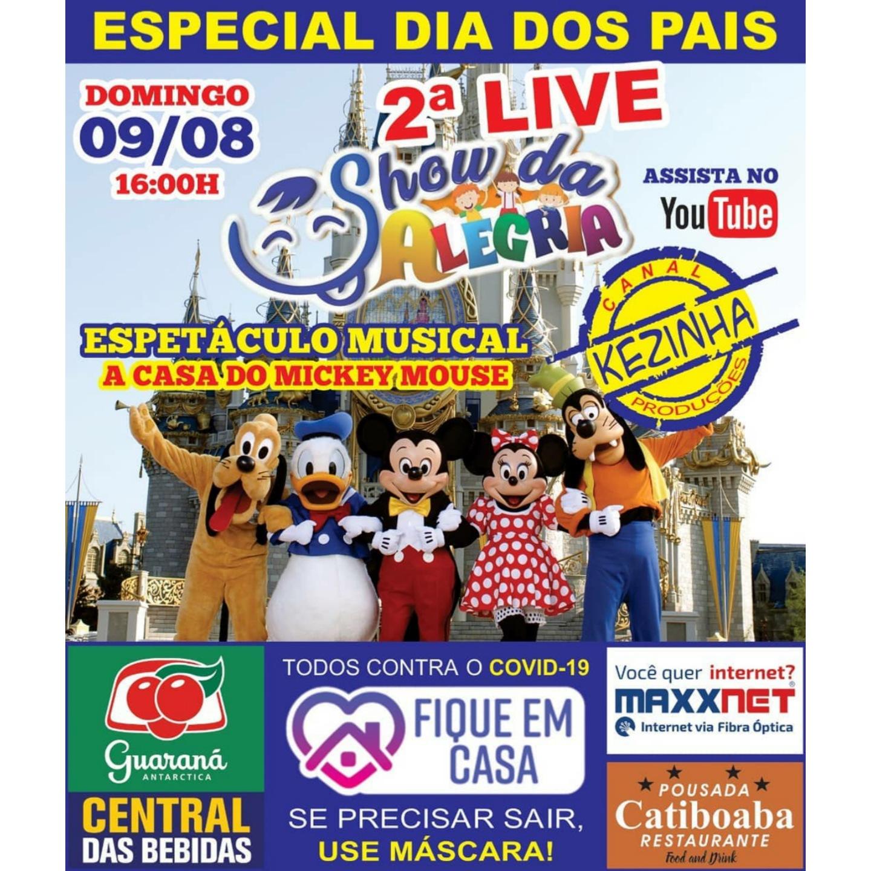 Neste domingo (09) tem a 2ª Live Show da Alegria, com o musical A Casa do Mickey Mouse