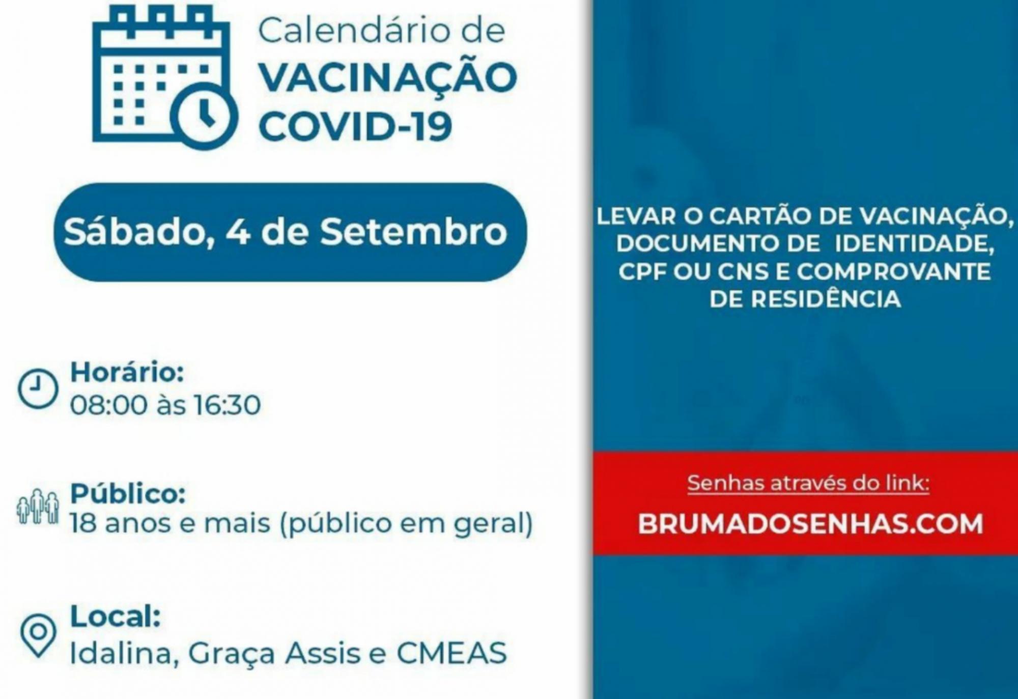 Brumado: Pessoas de 18 anos e mais podem se vacinar neste sábado (04)