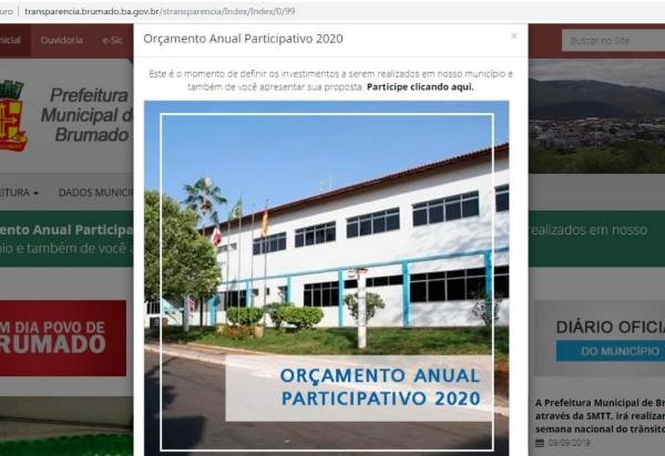 Prefeitura de Brumado convoca a população para contribuir com sugestão ao Orçamento  Participativo para 2020