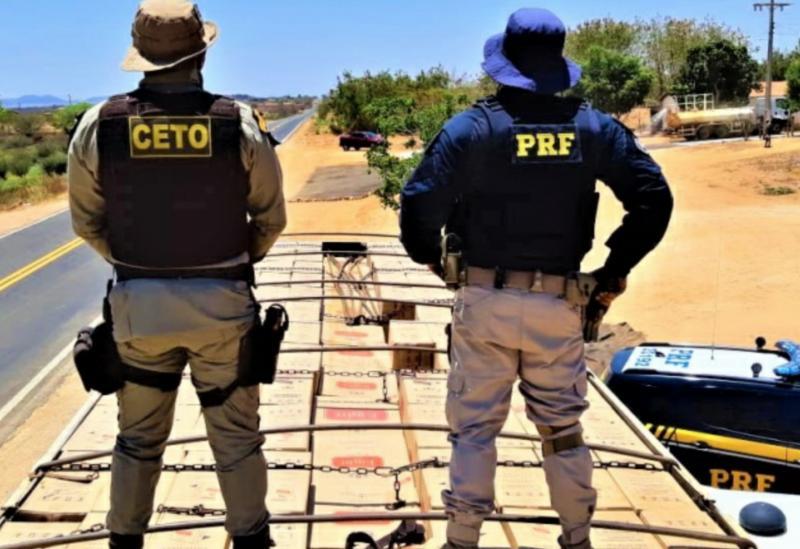 Guanambi: Após tentar fuga, PRF e PMBA prendem contrabandista com caminhão lotado de cigarros contrabandeados
