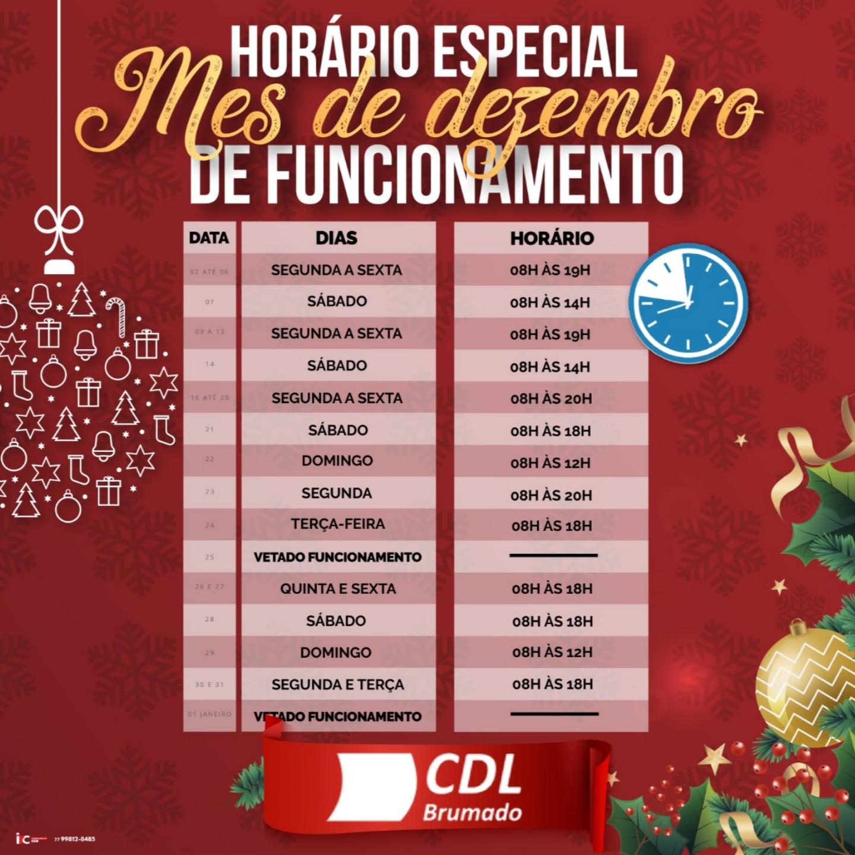 Brumado: CDL divulga o horário de atendimento no comércio durante o mês de dezembro