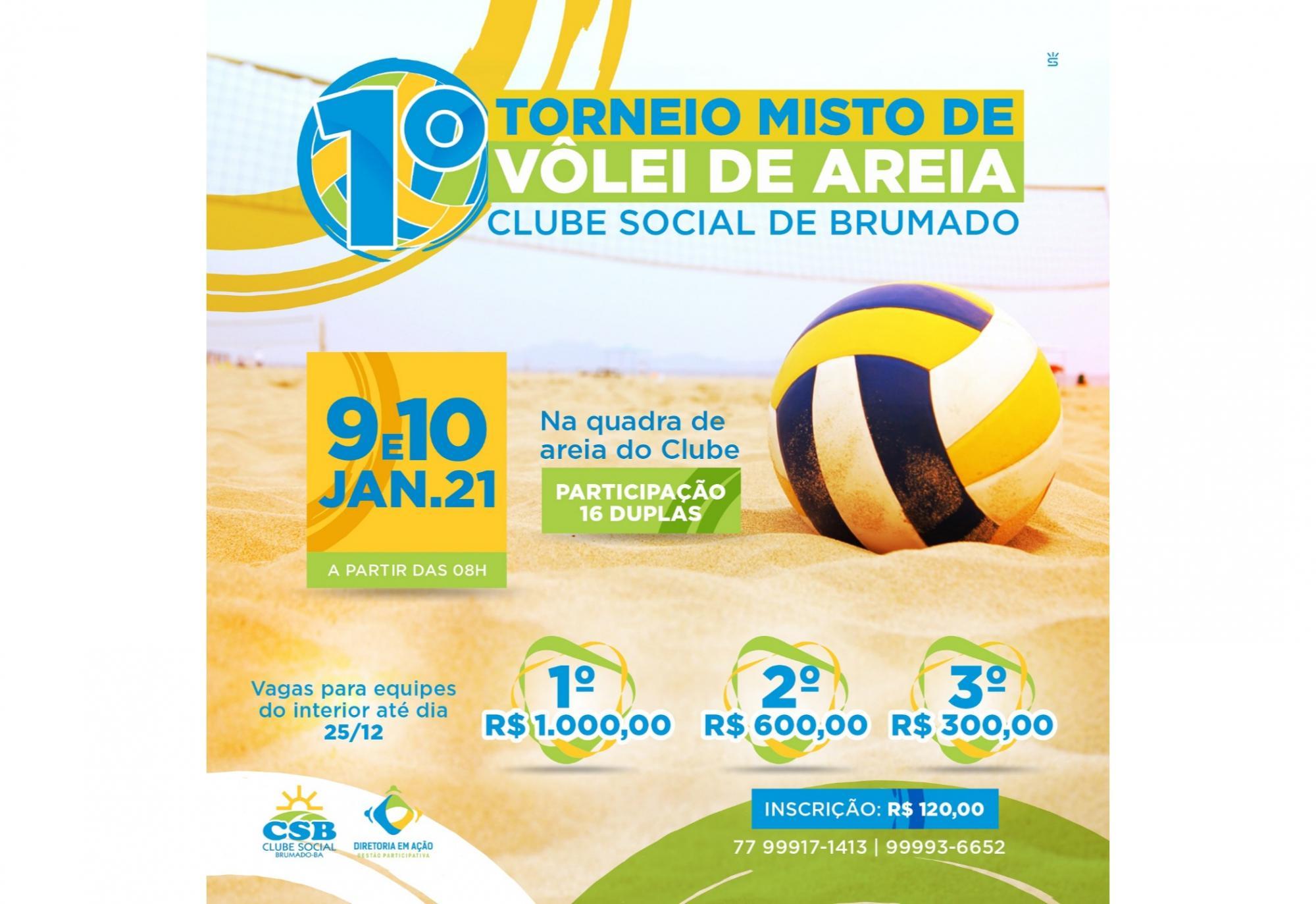 Clube Social de Brumado realizará torneio misto de vôlei de areia