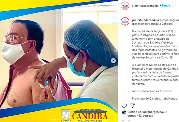 Prefeito de Candiba é vacinado contra a Covid, mas não faz parte do público-alvo; MP investiga o caso