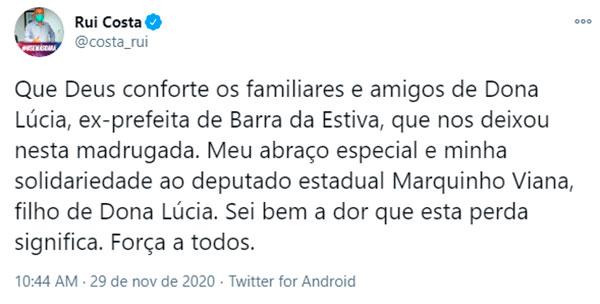 Barra da Estiva: Governador Rui Costa emite Nota de Pesar pela morte de Dona Lúcia