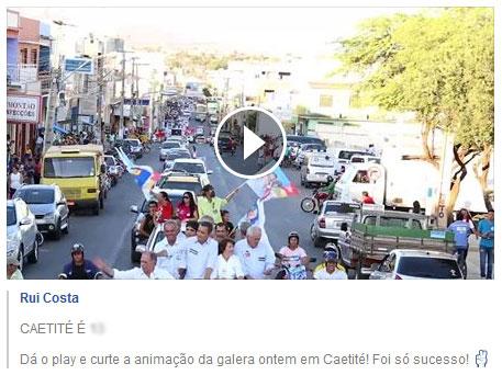 Eleições 2014: Rui Costa faz carreata em Brumado e em vídeo diz que foi em Caetité