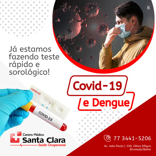 Centro Médico Santa Clara está fazendo teste rápido e sorológico para Covid-19