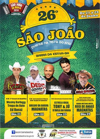 Rick e Renner e grandes atrações no São João de Barra da Estiva