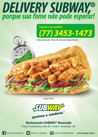 Novidade: O Subway de Brumado agora tem Delivery