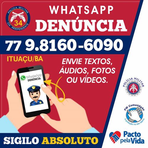 Ituaçu: Polícia Militar conta agora com 'WhatsApp Denúncia'