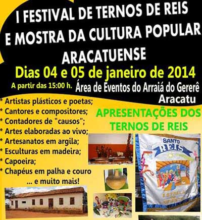 Aracatu: Neste domingo tem Festival de Reis e show com Magnatas