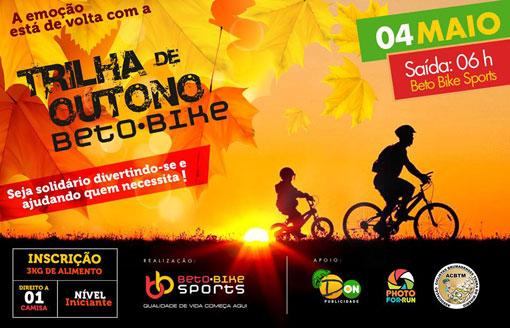 Beto Bike Sports realiza dia 04 de maio trilha de Outono beneficente