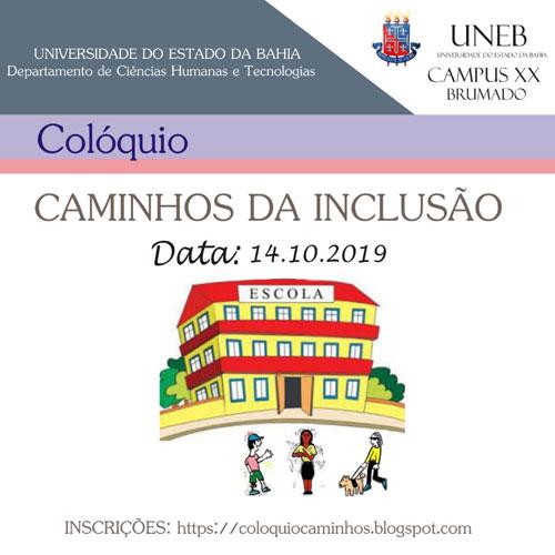 Brumado: UNEB promove no dia 14 de outubro o colóquio Caminhos da Inclusão