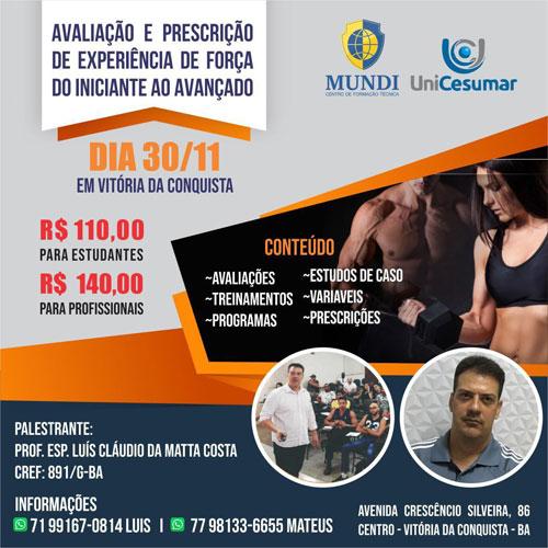 Unicesumar promoverá em Vitória da Conquista o Curso 'Avaliação e Prescrição de experiência de força do iniciante ao avançado'