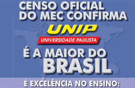MEC CONFIRMA A UNIP É A MAIOR DO BRASIL