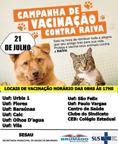 Programação: Campanha de vacinação contra Raiva - Cães e Gatos em Brumado