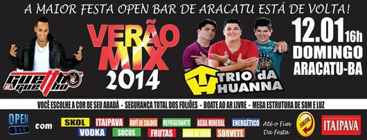 Aracatu: Dia 12 de janeiro tem o Verão Mix 2014