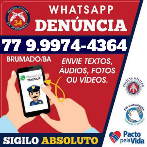 34ª CIPM: Ajude nas ações da Polícia Militar através do Whatsapp Denúncia
