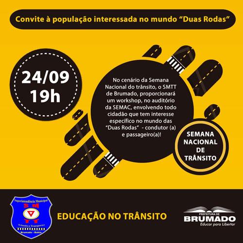 Brumado: SMTT promoverá Workshop 'Mundo das duas Rodas'